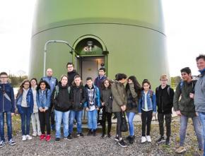 Schüler aus Bottrop besichtigen Windenergieanlage