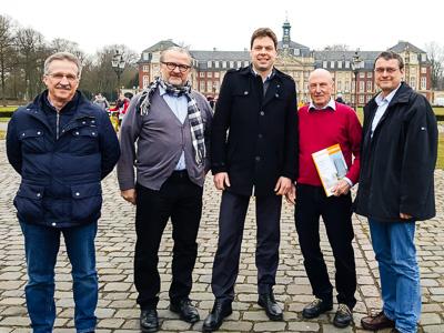 (v.l.): Franz Hantmann (DGS), Wolfgang Heese (DGS), Jan Dobertin (LEE NRW), Peter Deininger (DGS), Harald Nölle (Umweltforum Münster)